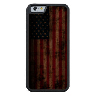 Vintage Grunge American Flag Carved Walnut iPhone 6 Bumper Case