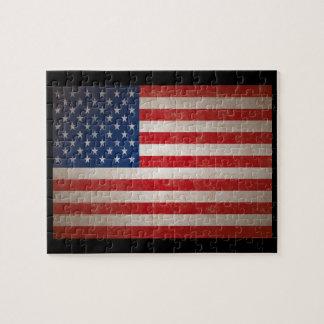 Vintage Grunge American Flag Patriotic Design Jigsaw Puzzle
