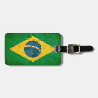 Vintage Grunge Brazil Flag Luggage Tag