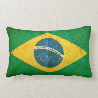 Vintage Grunge Brazil Flag Lumbar Pillow