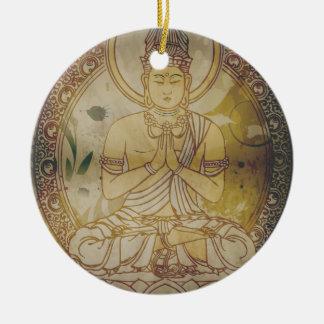 Vintage Grunge Buddha Ceramic Ornament