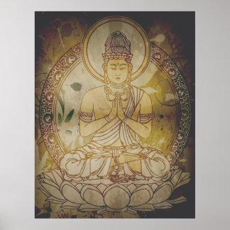 Vintage Grunge Buddha Poster