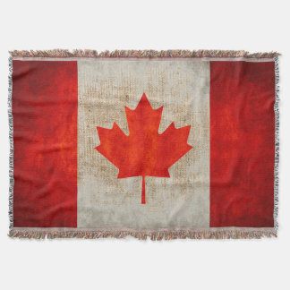 Vintage Grunge Canada Flag Burlap Throw Blanket