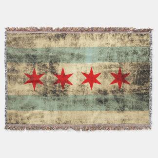 Vintage Grunge Chicago Flag Throw Blanket