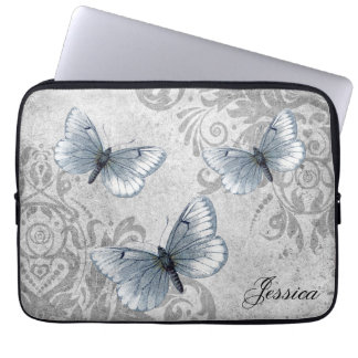 Vintage Grunge Damask and Butterflies Laptop Computer Sleeves