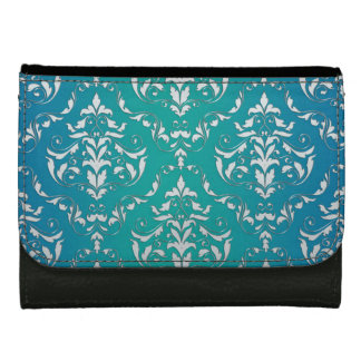 Vintage Grunge Damask Blue Green Black Wallet