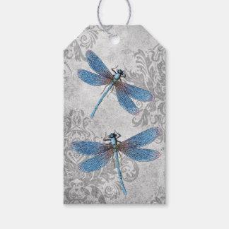 Vintage Grunge Damask Dragonflies Gift Tags