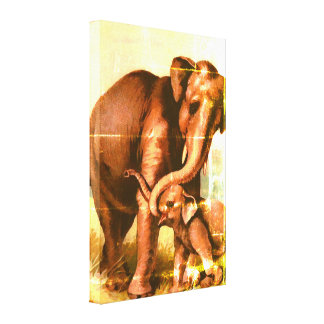 Vintage grunge elephant cow with  her calf canvas print