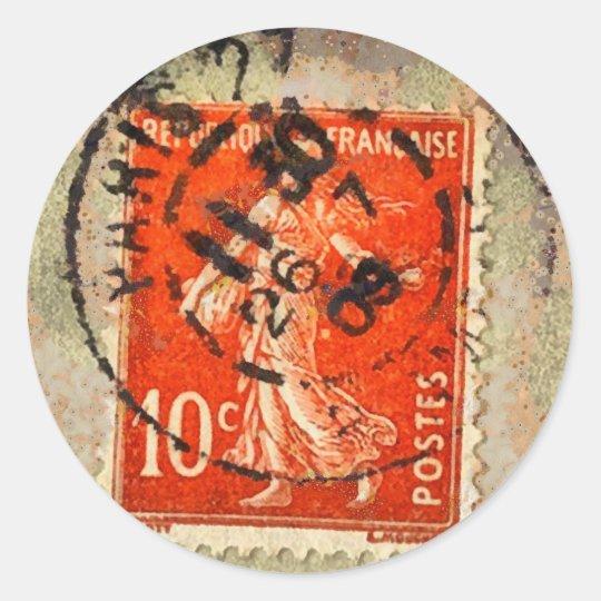 Vintage Grunge Ephemera French Stamp Classic Round Sticker