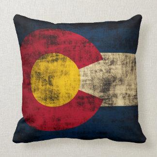 Vintage Grunge Flag of Colorado Throw Pillow
