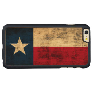 Vintage Grunge Flag of Texas Carved Maple iPhone 6 Plus Case