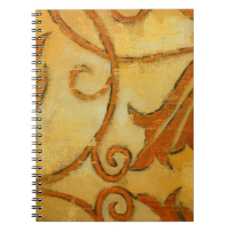 Vintage Grunge Gold Yellow Leaf  & Vine Notebook