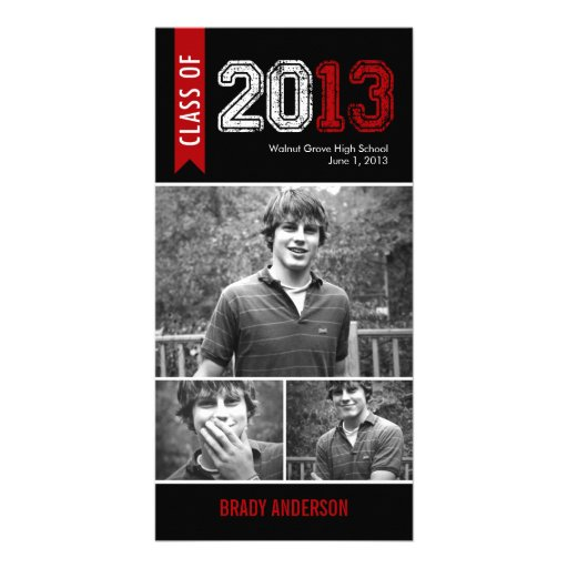 Vintage Grunge Graduation Announcement Photo Card Personalized Photo Card