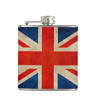 Vintage Grunge Great Britain UK Flag Union Jack Hip Flask