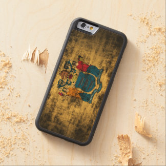 Vintage Grunge New Jersey Flag Carved Maple iPhone 6 Bumper Case