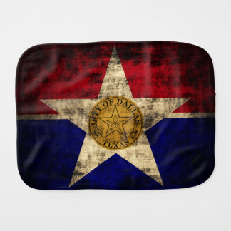 Vintage Grunge Patriotic Flag of Dallas Texas Baby Burp Cloths
