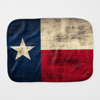 Vintage Grunge Patriotic Flag of Texas Baby Burp Cloths