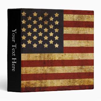 Vintage Grunge Patriotic USA American Flag 3 Ring Binders