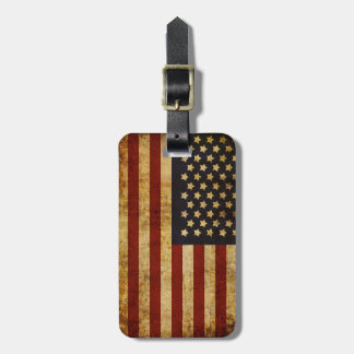 Vintage Grunge Patriotic USA American Flag Tags For Bags