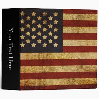 Vintage Grunge Patriotic USA American Flag Vinyl Binders