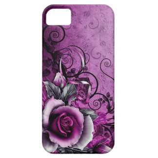 vintage grunge purple rose vector swirl art case for the iPhone 5