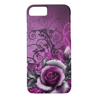vintage grunge purple rose vector swirl art iPhone 8/7 case