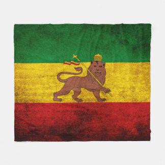 Vintage Grunge Rastafarian Flag Fleece Blanket