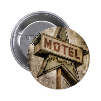 Vintage Grunge Star Motel Sign 2 Inch Round Button