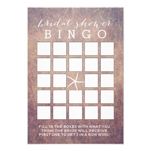 Vintage Grunge Starfish Bridal Shower Bingo Cards