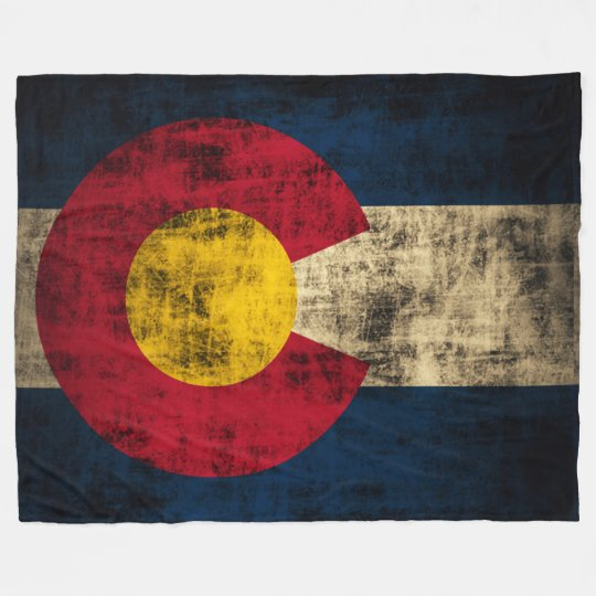 Vintage Grunge State Flag of Colorado Fleece Blanket