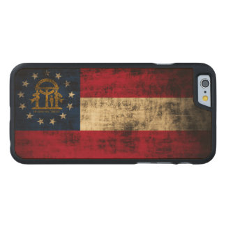 Vintage Grunge State Flag of Georgia Carved Maple iPhone 6 Case