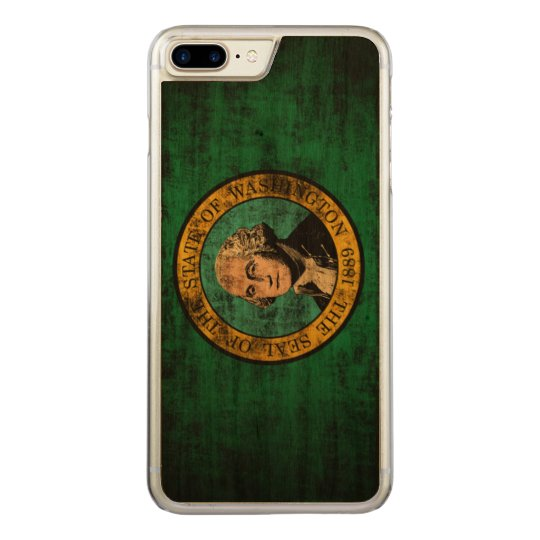 Vintage Grunge State Flag of Washington Carved iPhone 8 Plus/7 Plus Case