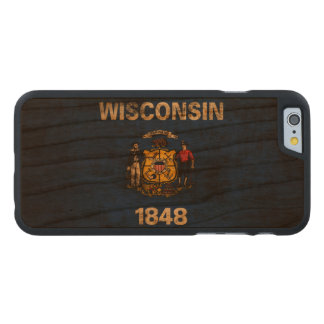 Vintage Grunge State Flag of Wisconsin Carved Cherry iPhone 6 Case
