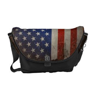 Vintage Grunge USA Flag Commuter Messenger Bag
