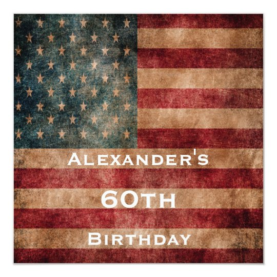 Vintage Grunge USA Stars & Stripes 60th Birthday Card