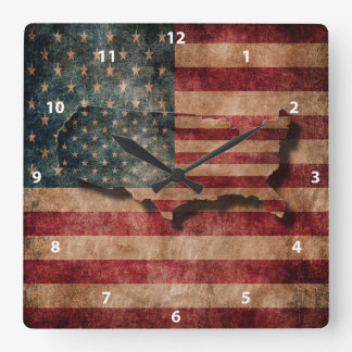 Vintage Grunge USA Stars & Stripes Flag and Map Square Wall Clock