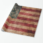 Vintage Grunge USA Stars & Stripes Flag Wrapping Paper
