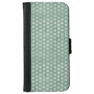 Vintage Grunge White Flowers On Green iPhone 6 Wallet Case