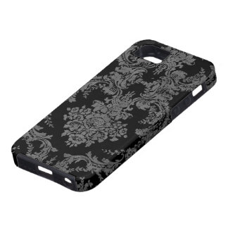 Vintage Grungy Damask Pattern - Gray and Black iPhone 5 Cases