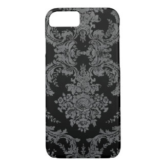 Vintage Grungy Damask Pattern - Gray and Black iPhone 7 Case