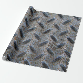 Vintage Grungy Diamond Pattern Faux Metal Wrapping Paper