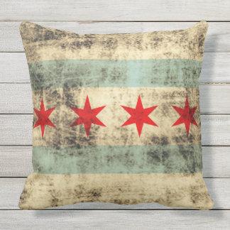 Vintage Grungy Flag of Chicago Illinois Throw Pillow
