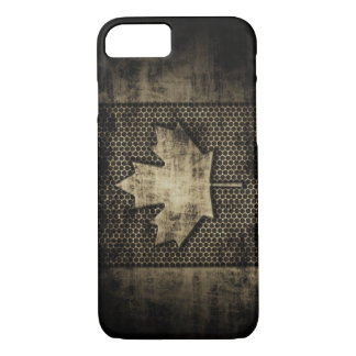 Vintage Grungy Metal Look Canadian Flag iPhone 7 Case