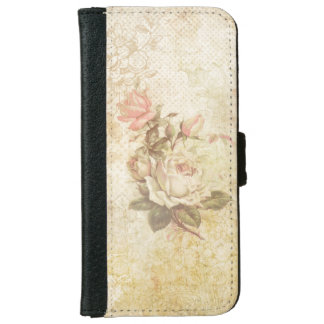 Vintage Grungy Pink and Ivory Roses iPhone 6 Wallet Case