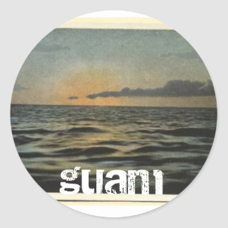 Vintage Guam Sunset Classic Round Sticker