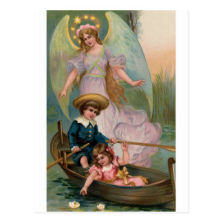 Vintage guardian angel of children and boat postcard