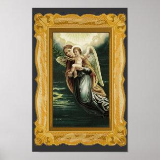 Vintage Guardian Angel With Jesus Poster