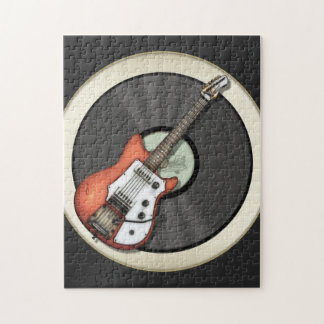 Vintage Guitar and Vinyl Record Design Jigsaw Puzzle