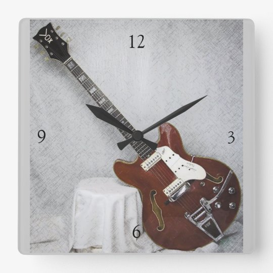Vintage Guitar Wall Clock