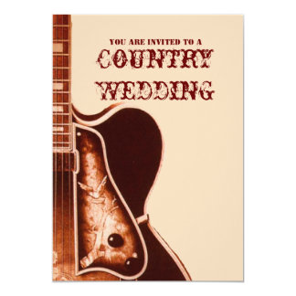 vintage Guitar Western Country Wedding Invitation